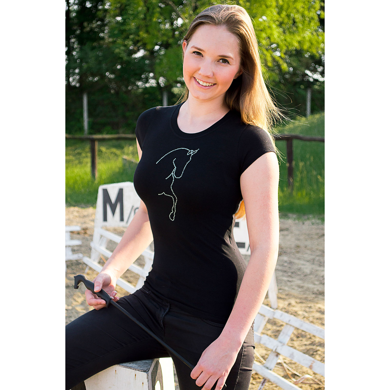 Cavalliera Crystal Dressage Horse Silhouette t-shirt